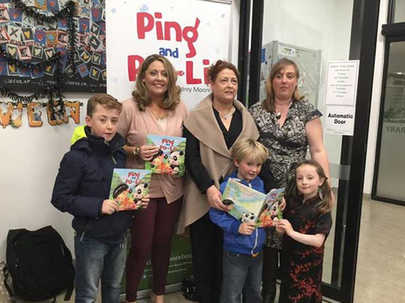 The book launch of Ping and Po-Li by Audrey Moore in Kildare Town Library.